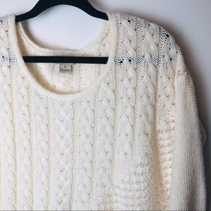 Lucky Brand Ivory Cable Knit Sweater M EUC